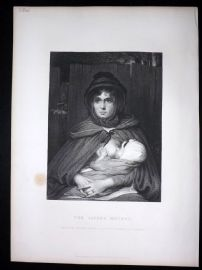 After David Wilkie C1870 Antique Print. The Gipsy Mother